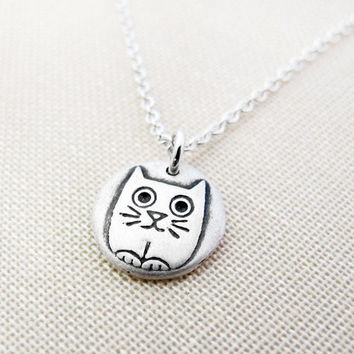 Tiny silly kitty cat necklace - silver