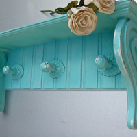 Shabby Chic Aqua Shelf Hooks Beach Cottage Wooden Shelf by Swede13