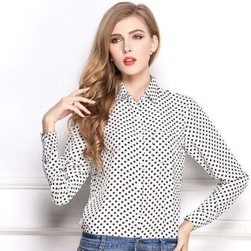 2018 Autumn Spring Women's Blouse Polka Dot Casual Lapel Shirt Colorful Long Sleeve Cotton Tops Shirts Casual Blusas Femininas