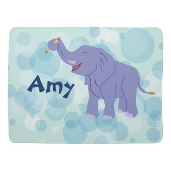 Happy Elephant (Personalize) Stroller Blanket