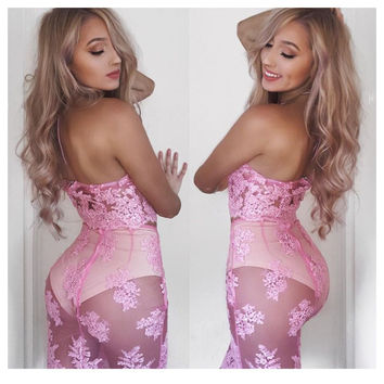 Women's Fashion Embroidery Lace Patchwork Bottom & Top Summer Spaghetti Strap One Piece Dress [9087822148]