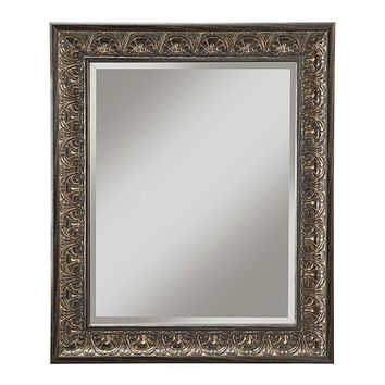 Wall Mirror With Intricately Carved Polystyrene Frame, Bronze