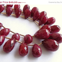 51% Off Clearance Sale Ruby Briolette Gemstone Teardrop AAA Dark Red Maroon Faceted Top Drilled 9.5mm 9 beads