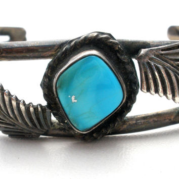 Sterling Silver Cuff Turquoise Bracelet Vintage