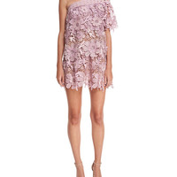 Self-Portrait One-Shoulder 3D Floral-Lace Mini Cocktail Dress