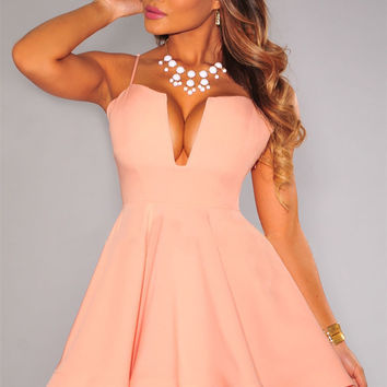 Peach Spaghetti Strap Padded A-Line Mini Skater Dress