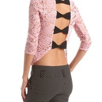 Bow Back Sheer Lace Top: Charlotte Russe