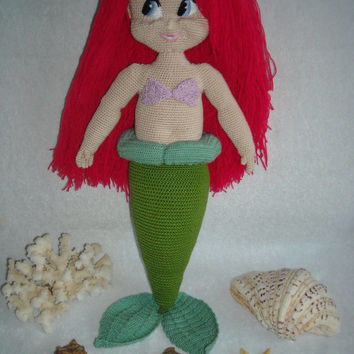 Charming Ariel  Mermaid,  big crochet Amigurumi Mermaid,  Doll handmade.