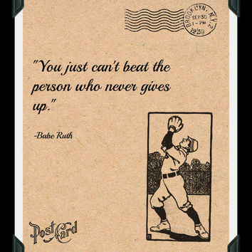 Babe Ruth Quote, Printable Poster, Digital Download, Sportsmanship, Quote Print, Boys Room Decoration, Home Decor, Mens Poster
