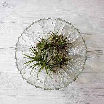 Large Vintage Flower Shaped Textured Glass Bowl | Serving Dish
