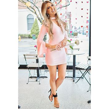 Essence Of Love Bell Sleeve Bodycon Dress (Baby Pink)