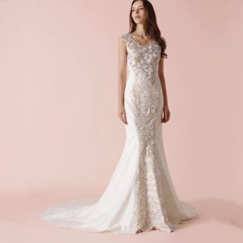 Sheath Unique Lace Wedding Dress New Design Bridal Gown