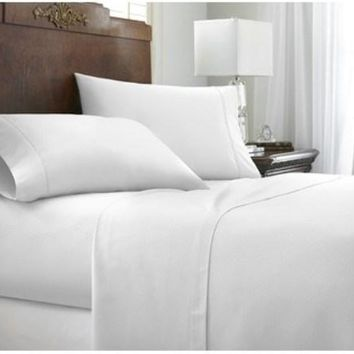 Soft Essentials Premium Embossed Chevron Design 3 Piece Bed Sheet Set (Twin - White)(Pack Of 12)
