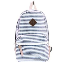 Afranker Fashion Girls Cute Backpack Canvas Stripe Leisure Travel Book Bag Blue