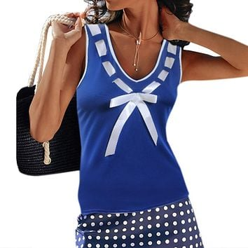 Women's Casual Sleeveless V-Neck Bow Top.    In Sizes Small to 5XL.   In White, Blue and Black.   ***FREE SHIPPING***