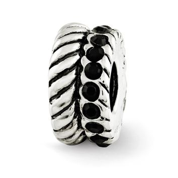Sterling Silver with Black Swarovski Crystals Fluted Spacer Bead Charm