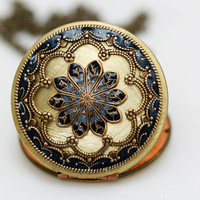 Locketblue locketfiligree locket necklaceresin by emmagemshop