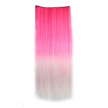 On Sale Hot Deal Hot Sale Beauty Sexy Wigs Pink Gradient Vanilla Straight Hair Clip Color Wig Hair Extensions [4923184900]
