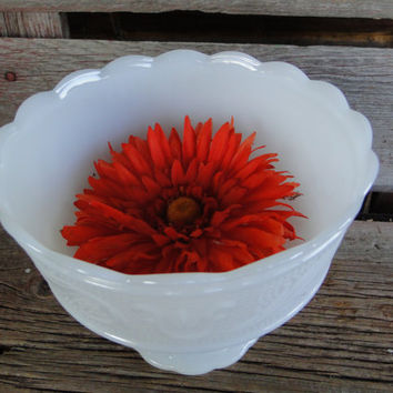 Vintage white milk glass pedestal bowl - white glass candy dish- vintage wedding serving white glass bowl cottage chic decor