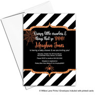Halloween baby shower invitations | orange, black and white stripes | halloween invites | spider web | printable or printed - WLP00715