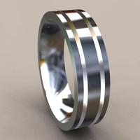 Silver Designer 6mm Mens Wedding Band with Sharp Lines, Classic Sterling Silver Wedding Ring with a Unique Look, Simple Mens Wedding Ring