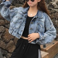 Trendy Vintage Cropped Short Jacket Casual Women Blue Denim Jackets Long-Sleeve Jeans Coats Cardigan Autumn Winter Feminino AT_94_13