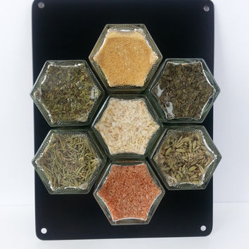 ITALIAN Spices, magnetic spice rack, graduation gift, organic spices, spice storage, spice jars, glass jars, spice rack, FREE SHIPPING.