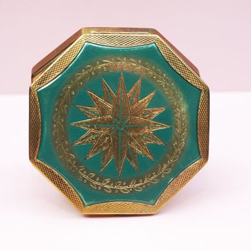 Powder Compact, Coty Compact, Compact Mirror, Compass, Green Compact, Travelling, Octagon, Metal Tin, Solid Powder Case - 1950s / 1960s