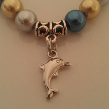 Silver Gold and Blue Dolphin Pearl Bracelet, Delta Delta Delta colors, Tri Delta colors, Bead Dolphin Bracelet, Dolphin Charm, FREE SHIPPING