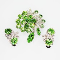 Green Eisenberg Ice Brooch and Earrings Set, Green and Clear Rhinestones, Clip Ons Earrings & Pin w/Swoosh Overlay, Vintage 1950's 1960's