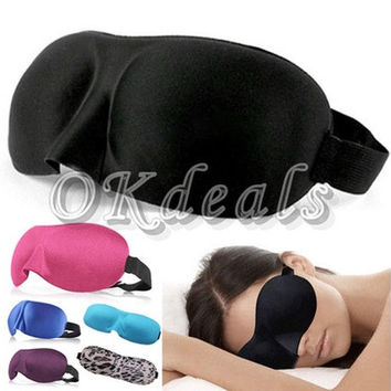 3D EYE MASK TRAVEL SLEEPING SOFT COVER SHADE BLINDFOLD SPONGE BLINDER EYE PATCH