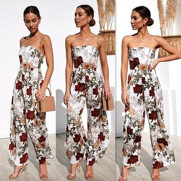2019 spring and summer new holiday print casual jumpsuit women's clothing