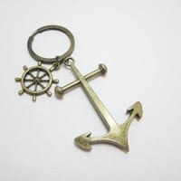 SALE Mens Nautical Bronze Anchor Keychain with Ship Wheel WAS 10.99