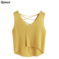 ROMWE Tank Top Women Summer Tops 2017 Sleeveless Top Women Yellow V Neck Lace Up Back Self Tie Dip Hem Tank Top