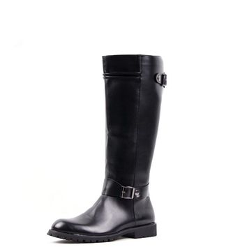 Tall Knee-High Leather Warm Men Boots 2016 New Black Pointed Toe Long Boot With Zipper Solid bota masculino