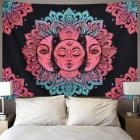 Colorful Tie-Dye Sun Hippie Style Tapestry 54x84 inches