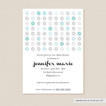 Besos Blue  Printable Invitation 5 x 7 Card by gabipress on Etsy