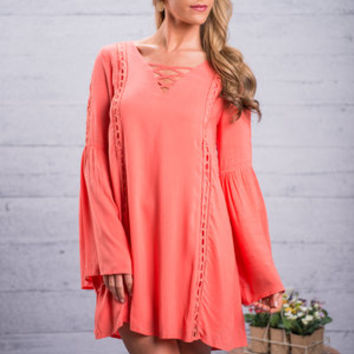 Breezy In Boho Dress, Coral
