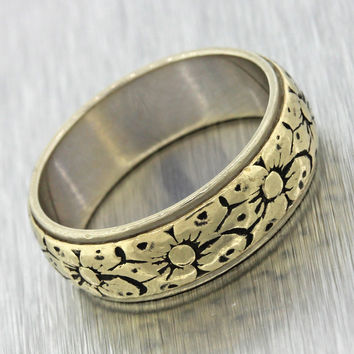 1930s Antique Vintage 14k Solid Yellow White Gold Flower Wide Wedding Band Ring