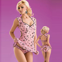 Cute Satine Sweet Heart Chemise and Panty Set [TML0114] - $36.00 : Zentai, Sexy Lingerie, Zentai Suit, Chemise