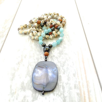 Salwag Seed And Mother Of Pearl Mala Necklace, 108 Mala Bead, Amazonite And Hematite Mala Beads, Yoga Necklace, Bohemian Jewelry