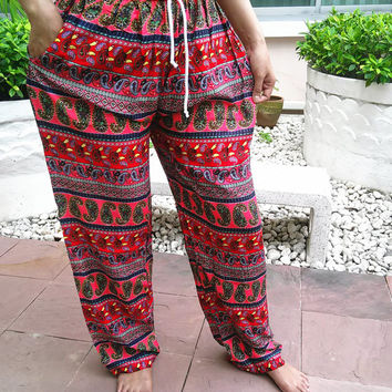 Red Yoga Pants Thai style Wide Leg Harem Boho Style Printed Unisex Casual Aladdin Fisherman Hippie Massage Rayon pants Gypsy Thai Women