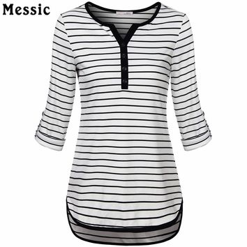 Women V-Neck 3-4 Roll Up Sleeve Casual Striped Tunic Shirts High Low Hem Slim Fit Casual Summer Tops With Buttons Female T-Shirt