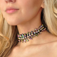 Ladyfirst Luxury Big Brand Boho Multicolored Crystal Choker Necklace Collar Wedding Charm Maxi Statement Necklace For Women 3747