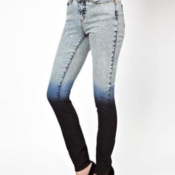 Noisy May Dip Dye High Waist Skinny Jeans