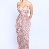 Cherished Sequin Dress - Rose Gold