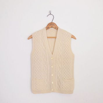 Irish Fisherman Sweater Vest Cable Knit Sweater Wool Sweater Ivory Sweater Fisherman Jumper 70s Sweater 70s Hippie Sweater XS Extra Small