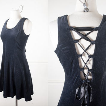 90s Black Velvet Babydoll Dress / Soft Grunge Mini Dress / Soft Goth Prom Dress / Little Black Dress / Backless Lace Up Cage Cut Out Corset