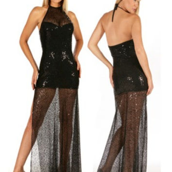 Black gown sequin mesh