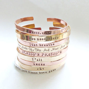 Copper Bracelet Inspirational Jewelry Brass Cuff Bangle Message Cuff Monogram Bangle Bridesmaid Jewelry Bridesmaid Gift Gift for her